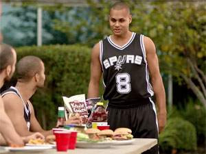 Patty Mills in the new commercial. (supplied)