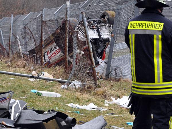Jann Mardenborough's wrecked car. (AAP)