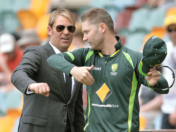 Shane Warne and Michael Clarke. (AAP)