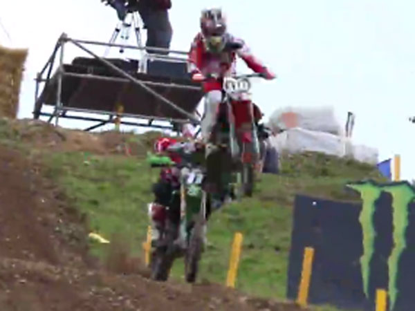 Austrian motocross rider Pascal Rauchenecker lands on Brit rival Max Anstie. (Supplied)