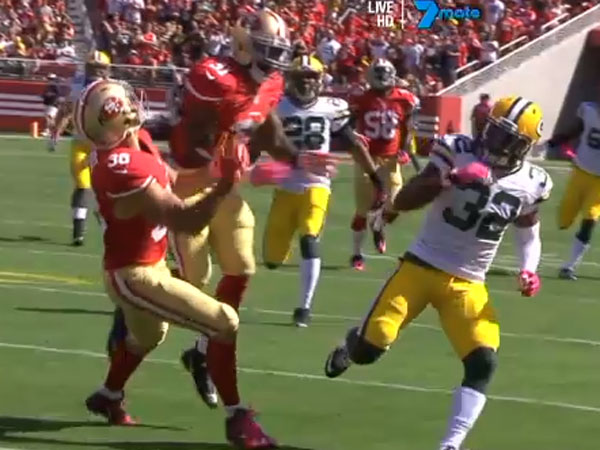 Jarryd Hayne gets bowled over by 49ers' teammate L.J McCray. (Supplied)