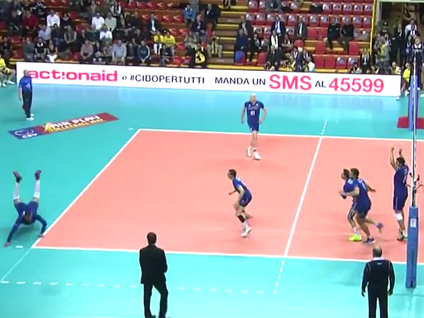 Earvin Ngapeth dives to make a save for France. (Supplied)