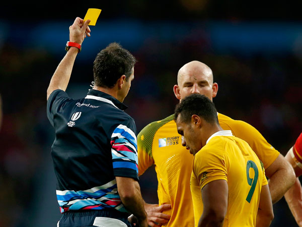 Wallabies captain Stephen Moore and half Will Genia talk to a referee.(Getty)