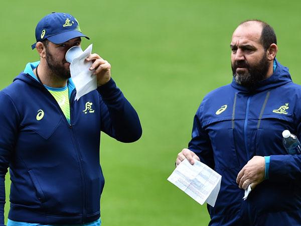 Australia's head coach Michael Cheika (L) and Australia's Argentinian assistant coach Mario Ledesma hold notes during a captain's run training session at Twickenham stadium. (AFP)