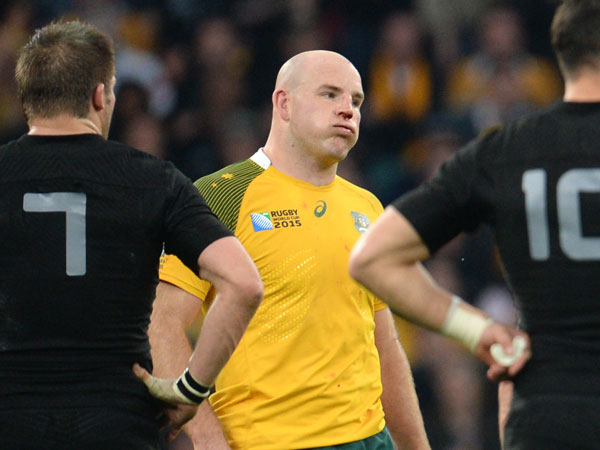Wallabies skipper Stephen Moore reacts to another referring decision. (AFP)