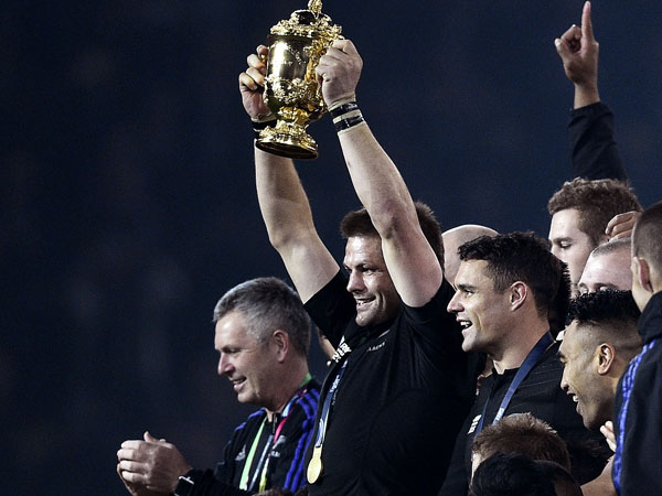 The All Blacks celebrate victory in the Rugby World Cup final. (AFP)