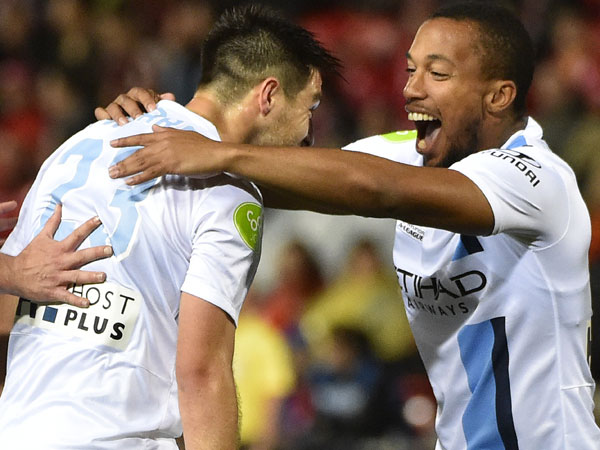 Bruno Fornaroli (L) celebrates a goal for Melbourne City. (AAP)