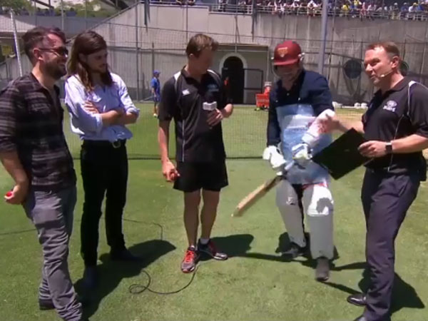 Marcus Mumford (second right) on The Cricket Show with Michael Slater (r). Supplied)