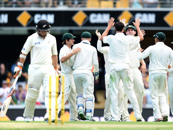 The Australian team celebrate another wicket. (AAP)