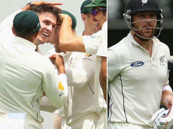 Mitch Marsh (L) celebrates Brendon McCullum's wicket. (Getty)