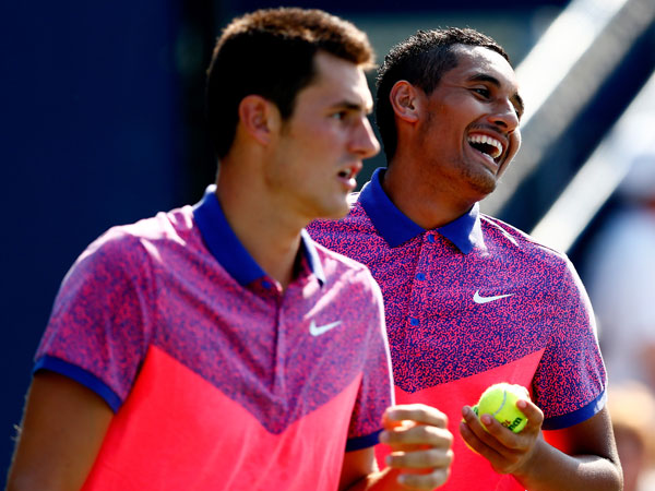 Bernard Tomic (l) and Nick Kyrgios. (Getty)