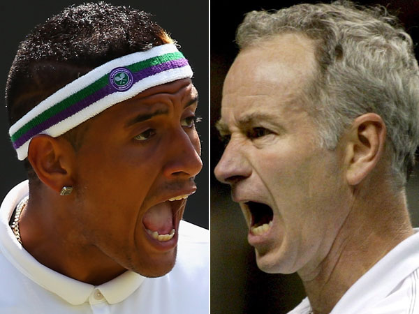 Nick Kyrgios and John McEnroe. (Getty and AAP)