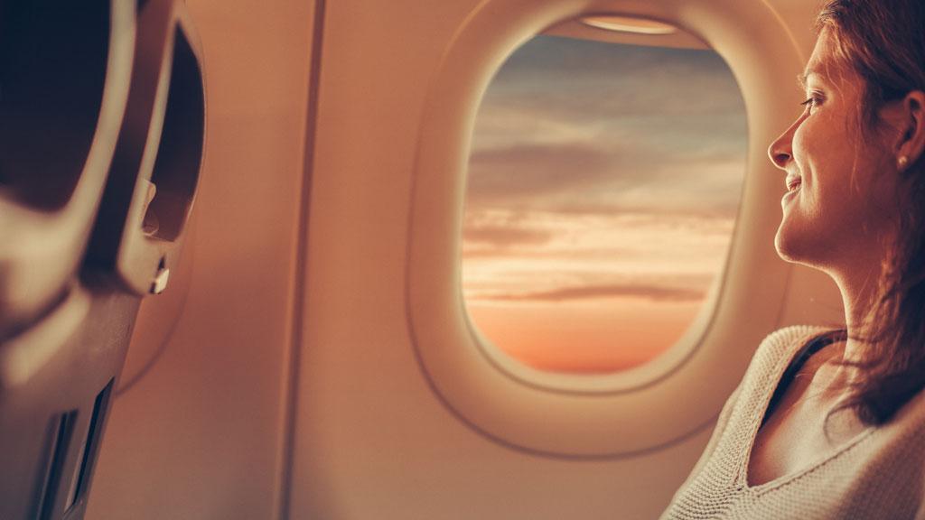 Woman on plane