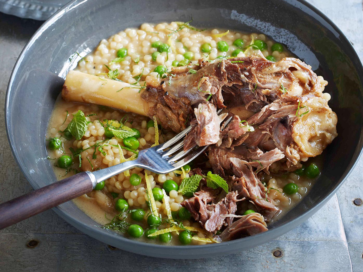 Braised lamb shanks with cous cous