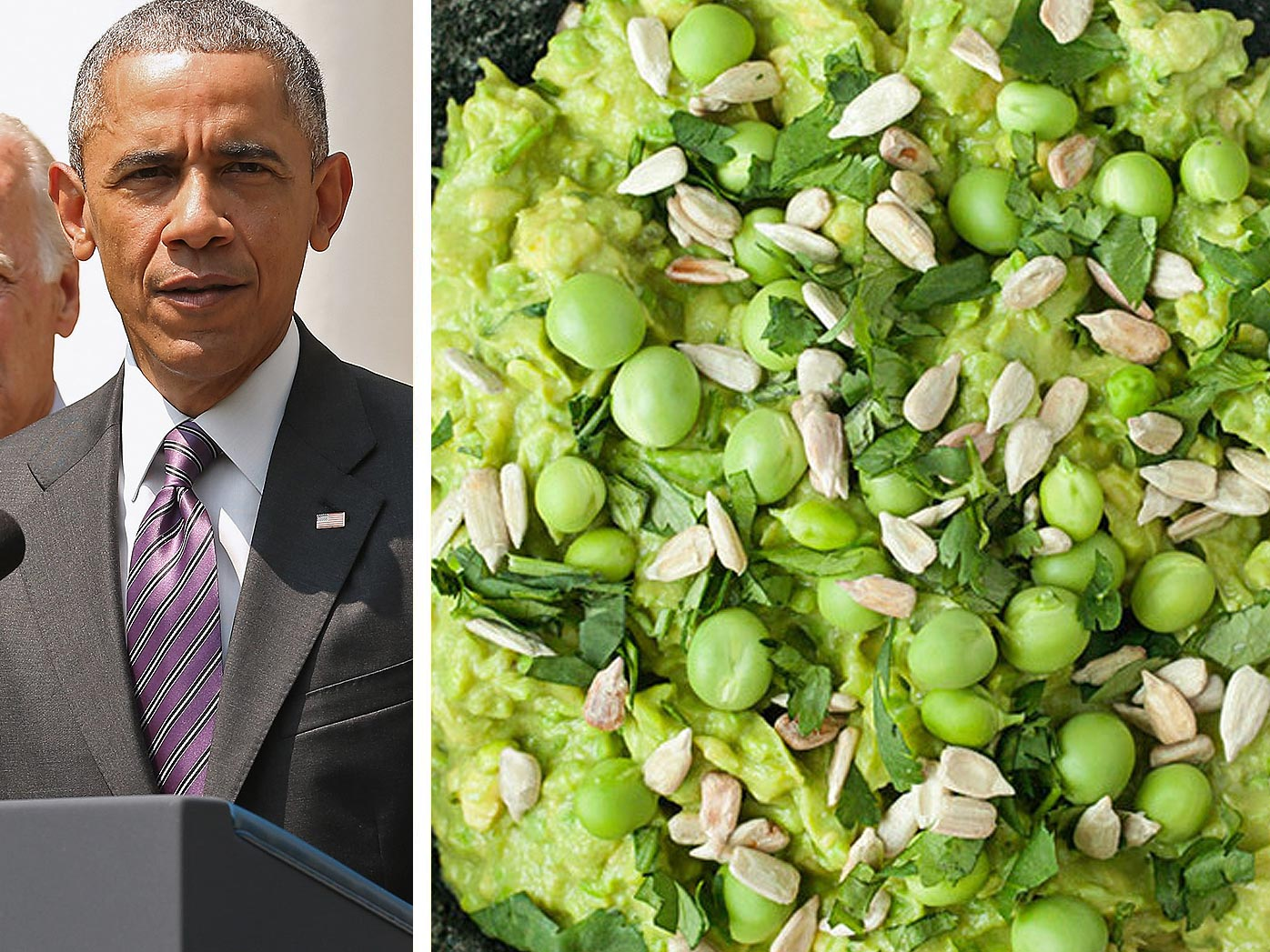 Barack Obama, green pea guacamole