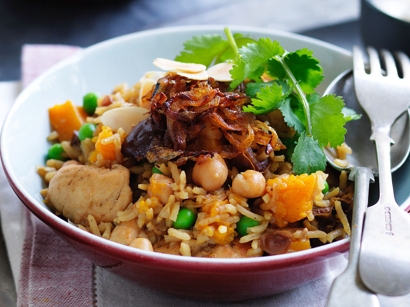 Chickpea and basmati rice chicken pilaf
