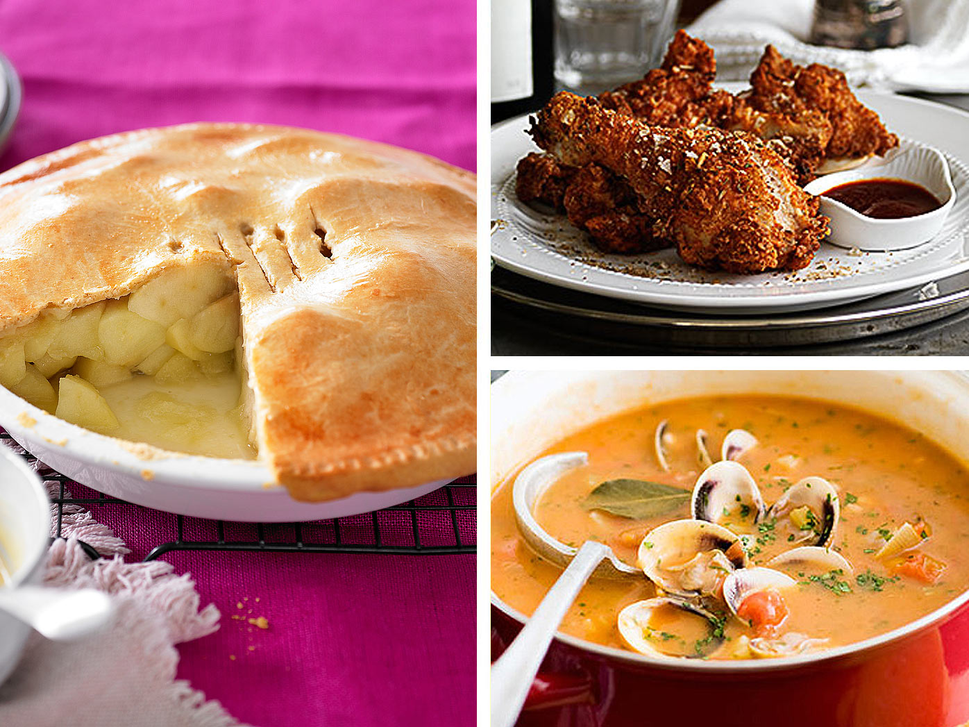 Southern chicken, clam chowder and apple pie