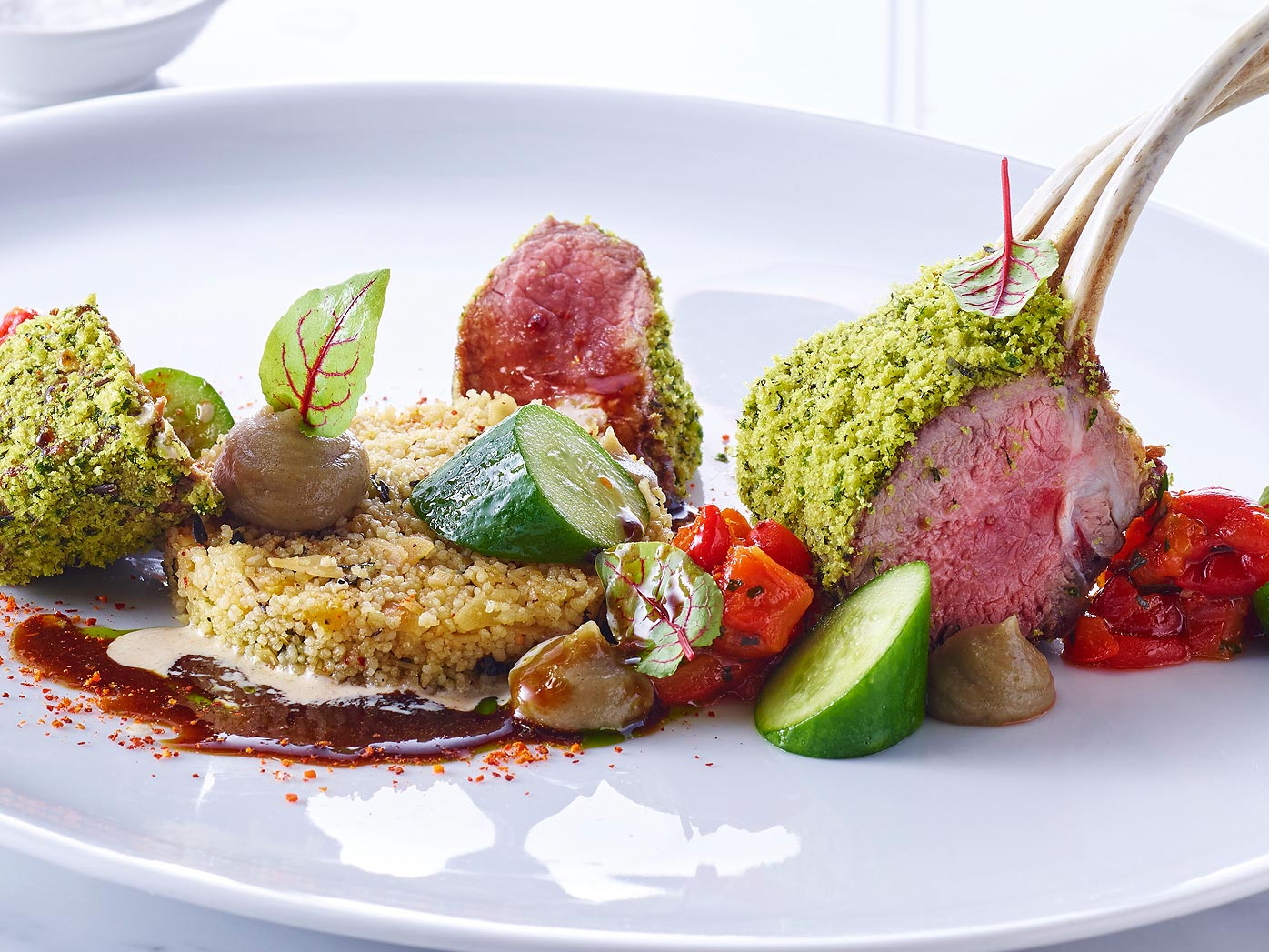 Neil Martin's roasted rack of lamb with charred eggplant puree