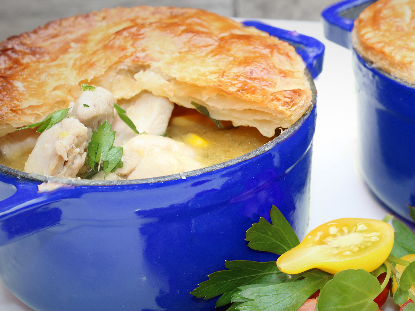 Chicken and corn pot pies