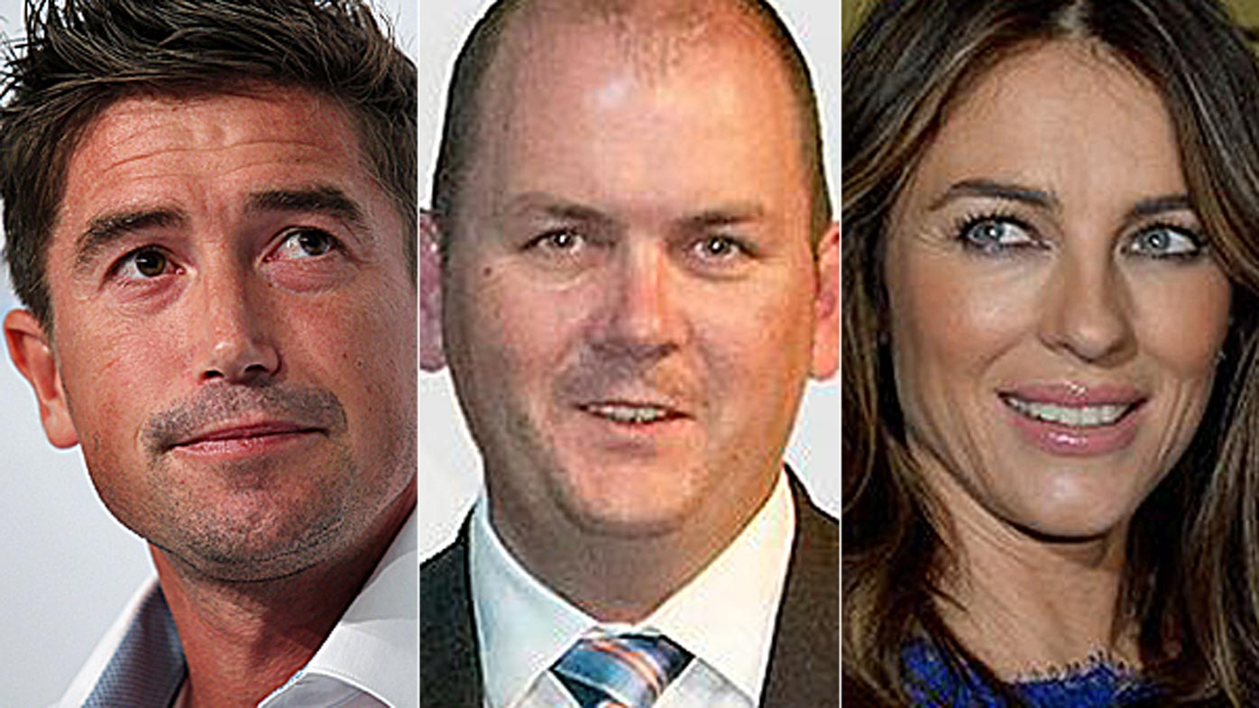 Harry Kewell, Clyde Campbell and Liz Hurley