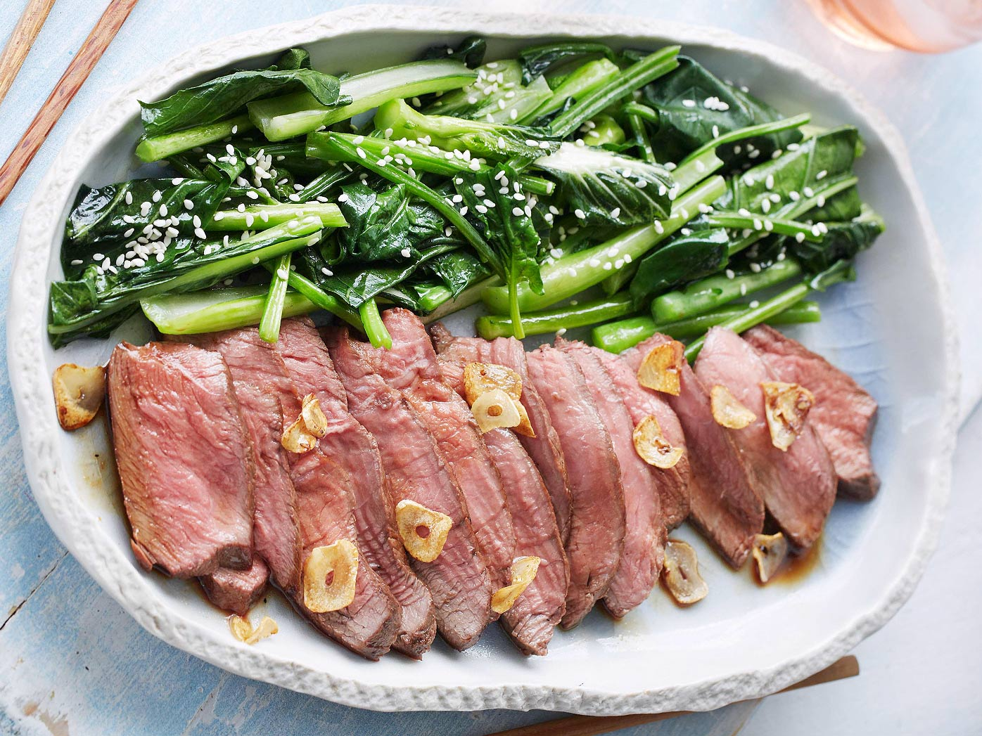 Adam Liaw's teriyaki steak with Asian greens