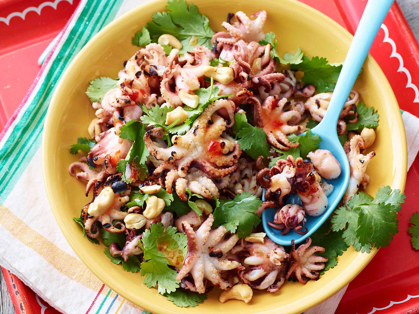 Barbecued octopus with coriander