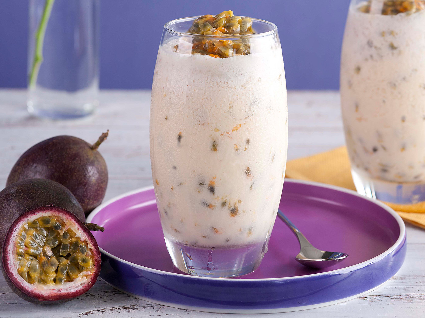 Sammy & Bella's passionfruit and yoghurt smoothie