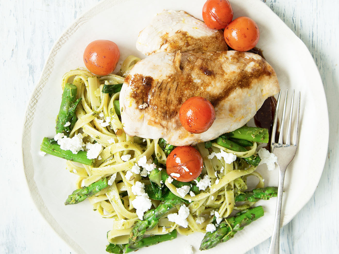 Nadia Lim's chicken with salsa verde and fettuccine