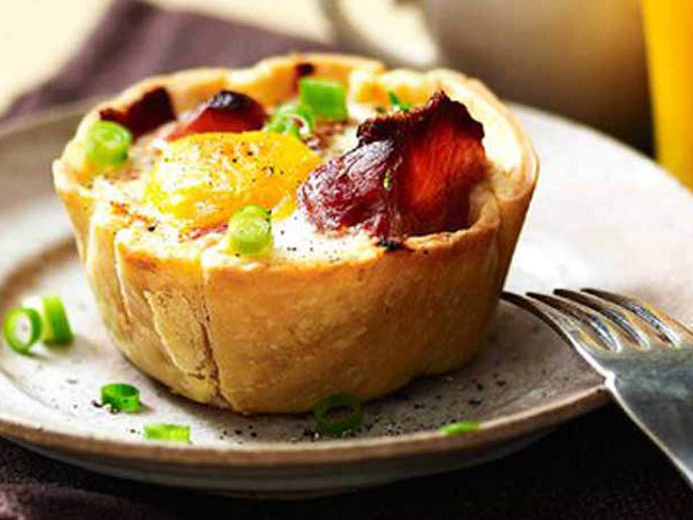 Sausage, egg and bacon pies