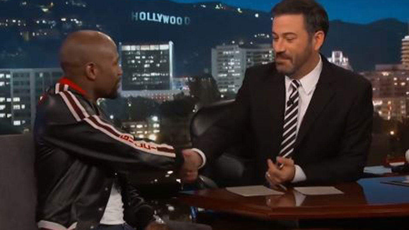 Mayweather vows to bankroll Kimmel's bet in McGregor super-fight