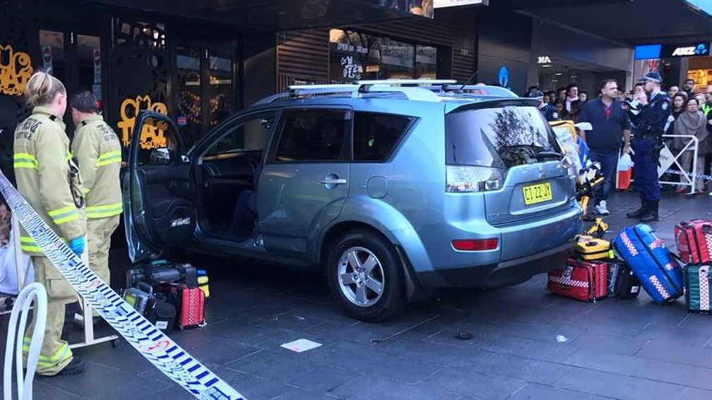 Toddler thrown from pram after car slams into pedestrians