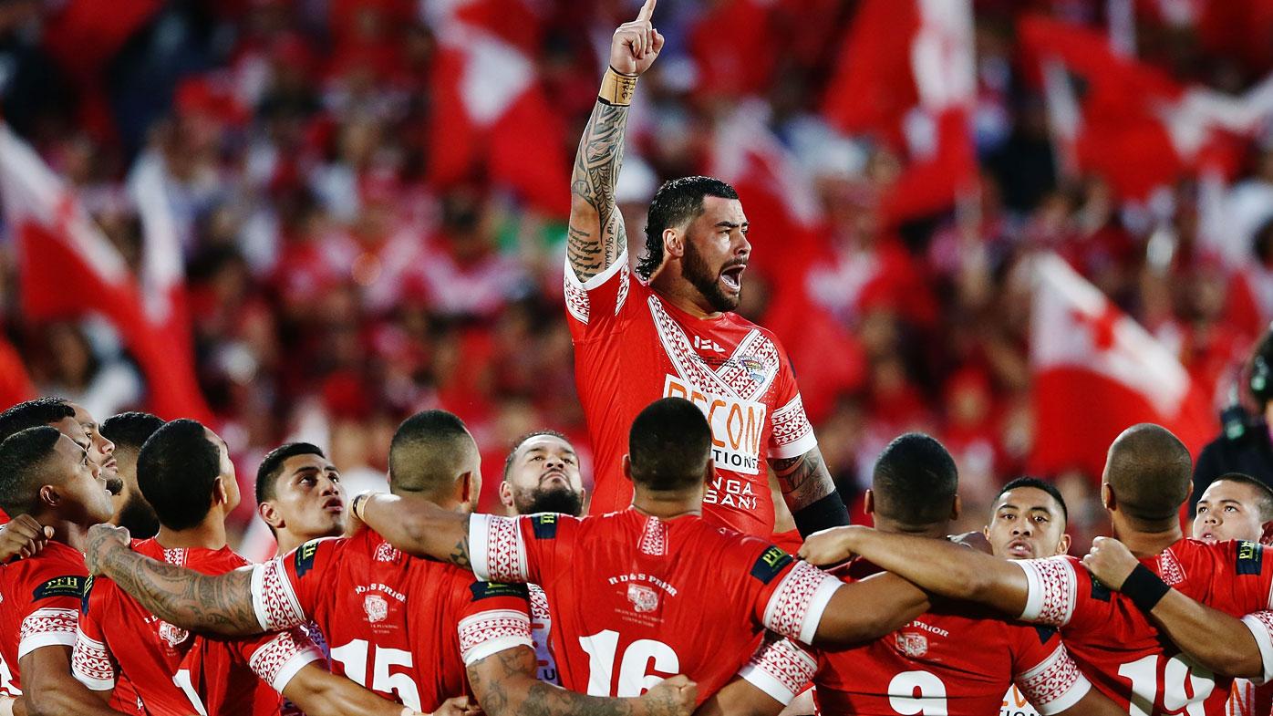Fifita leads the Tongan haka