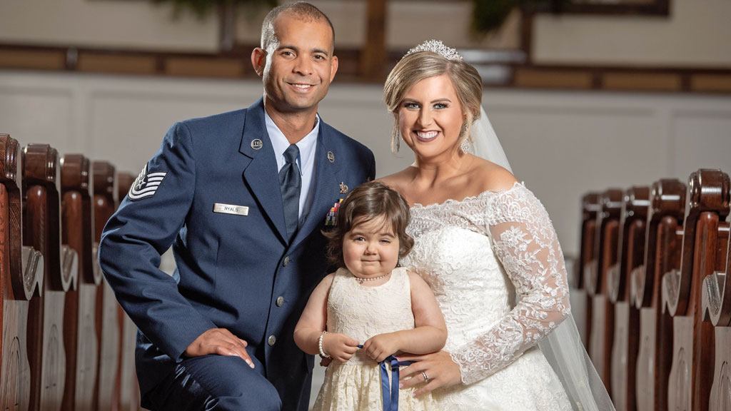 Three-year-old cancer survivor becomes flower girl at woman's wedding who saved her life