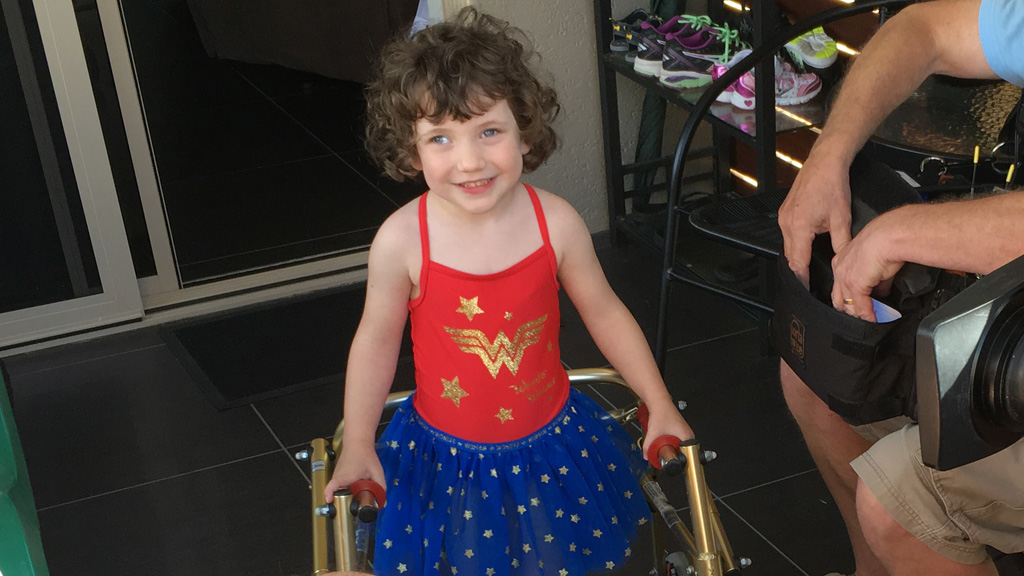 ACA: Four-year-old Cairns girl with Cerebral Palsy takes very first steps