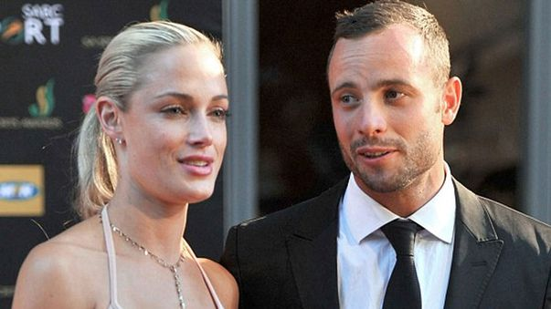 Reeva Steeenkamp with Oscar Pistorius.