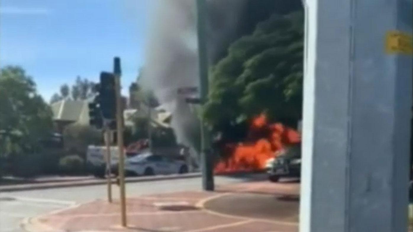 Car explodes as 'theft' backfires