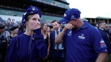 Megan Waller and Jason Brettle in tears after Winx's victory.