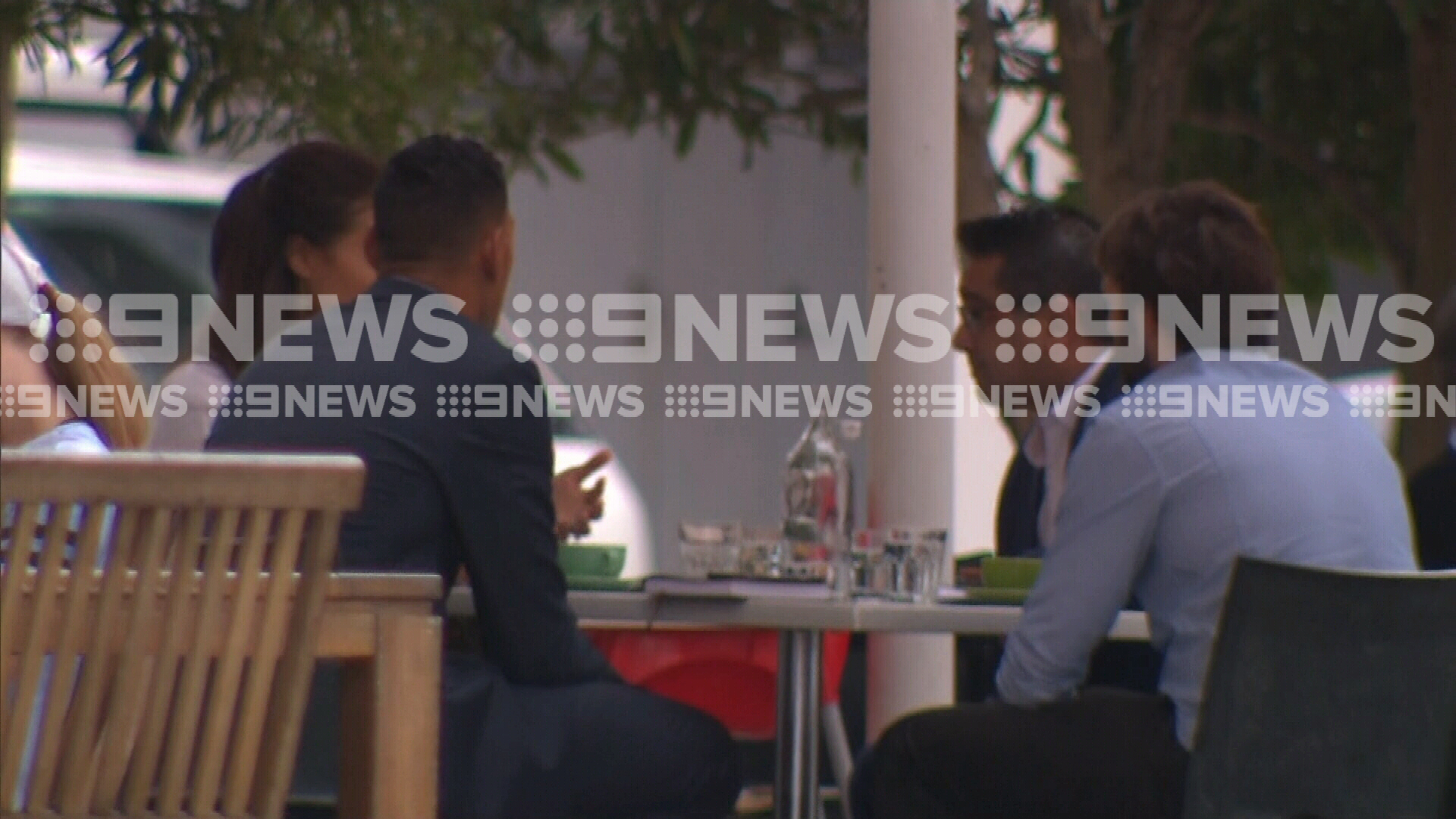 Israel Folau with his wife and two associates at a Sydney cafe.