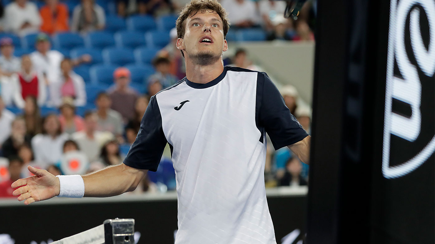Pablo Carreno Busta throws racket bag after loss to Kei Nishikori