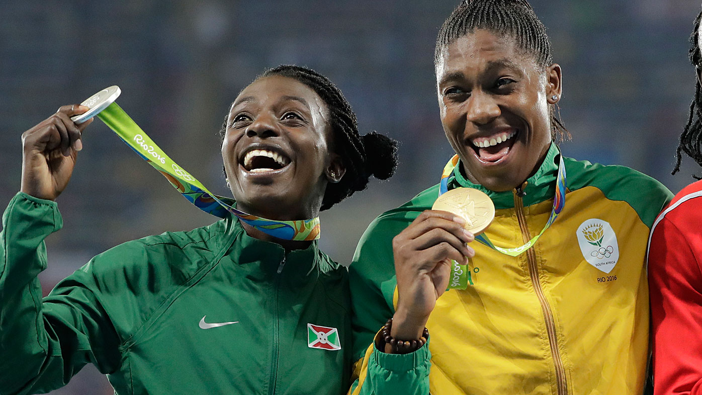 Medalist in the women's 800 meters, Burundi's Francine Niyonsaba and South Africa's Caster Semenya