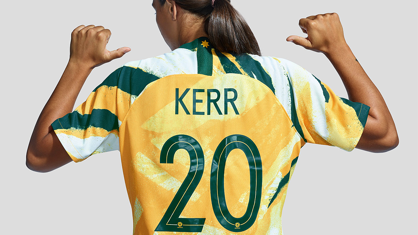 Sam Kerr wears the new Matildas Women's World Cup kit