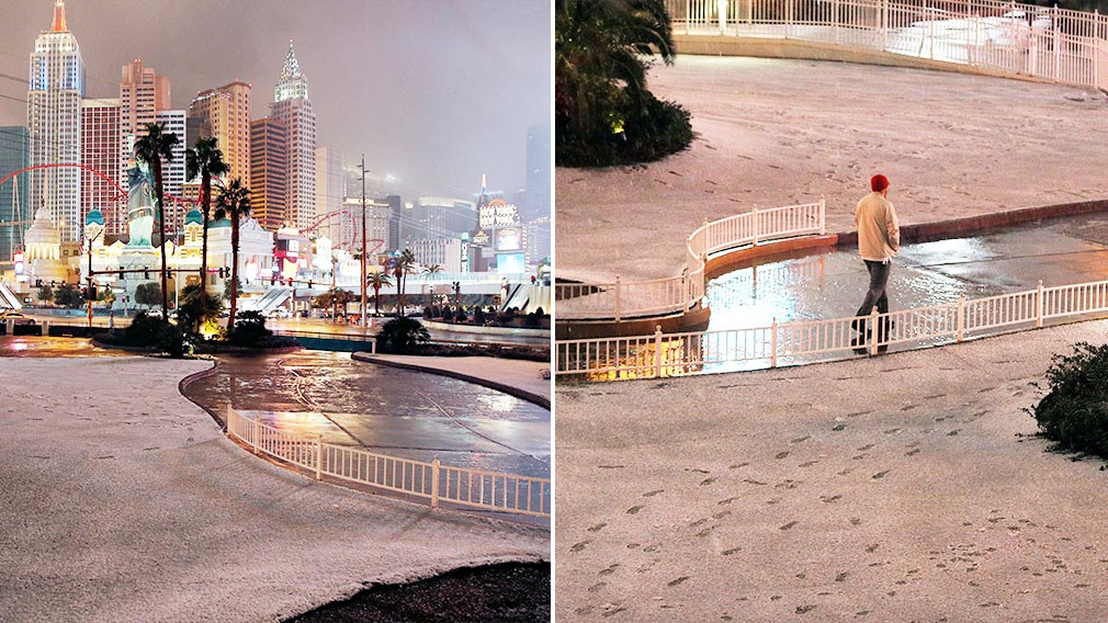 Snow falls in Las Vegas for first time since records began