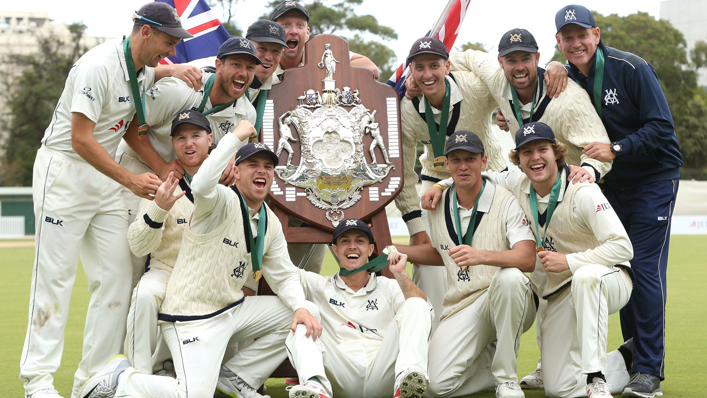 Victoria celebrate winning the Sheffield Shield final