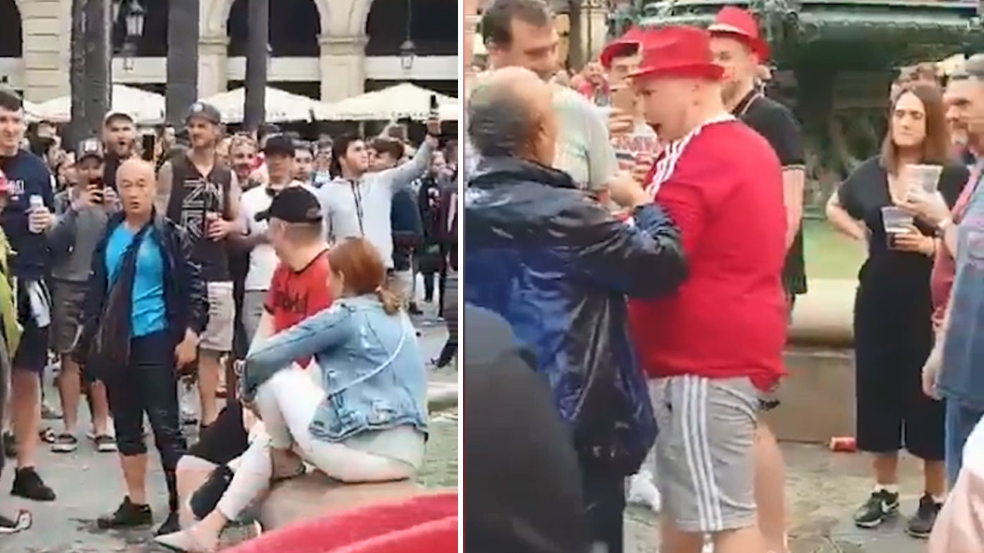 Liverpool fans clashed with tourists after pushing people into a fountain in Barcelona