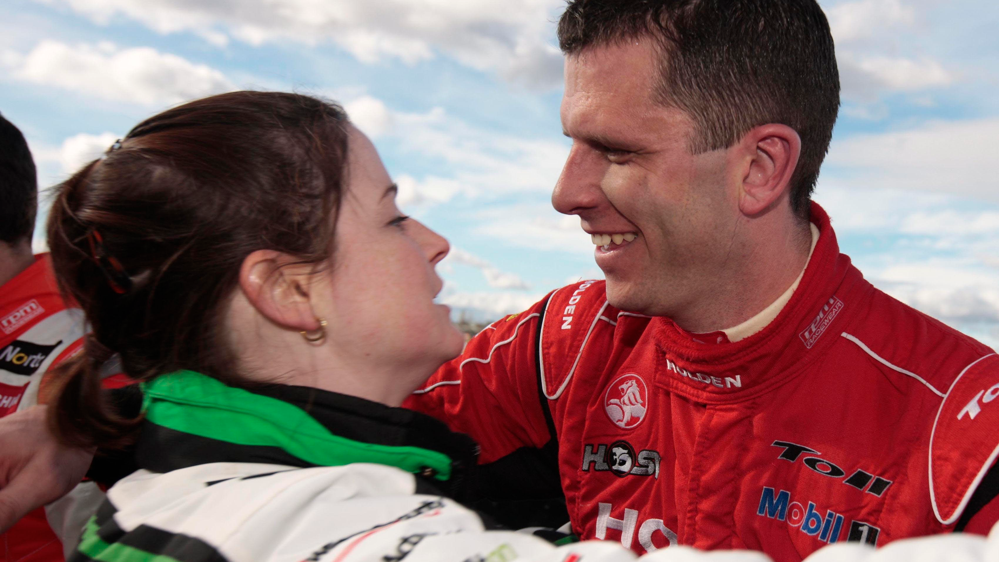 Leanne and Garth Tander embrace.
