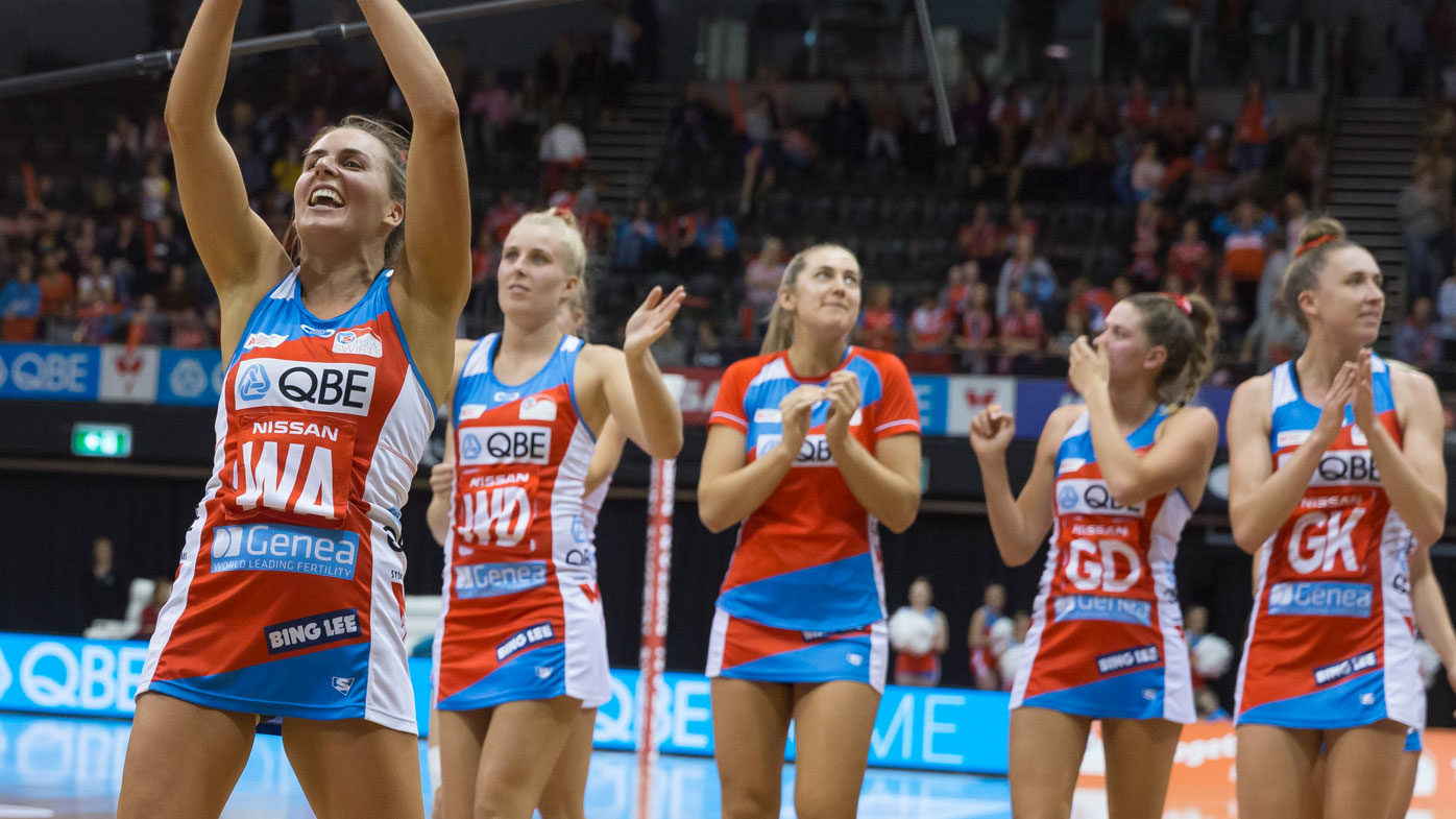 NSW Swifts celebrate after the Round 3