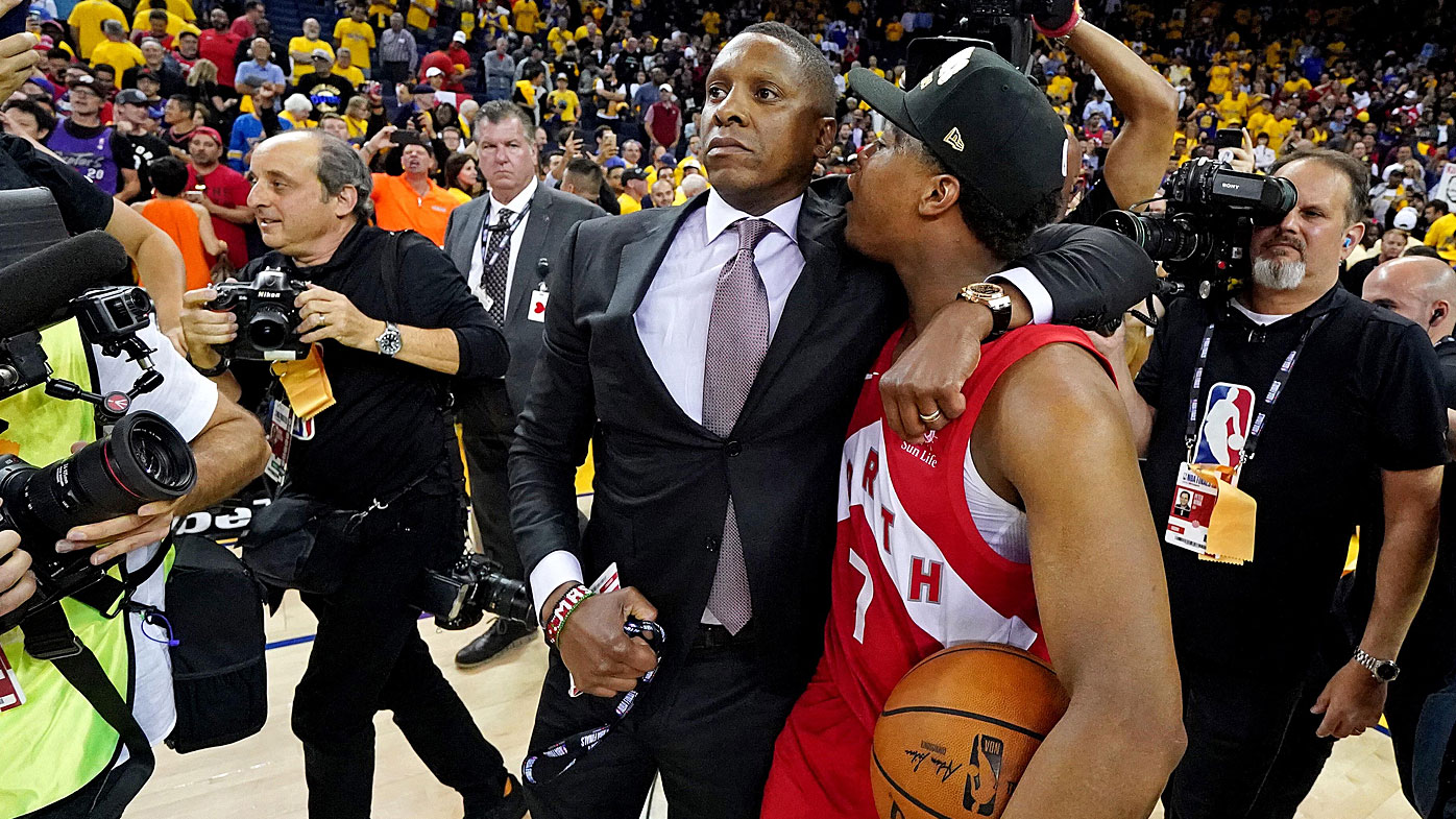 Toronto Raptors president Masai Ujiri and guard Kyle Lowry moments after the altercation