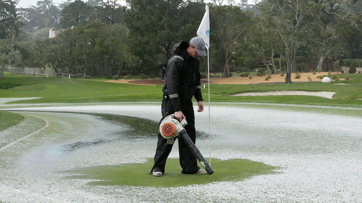 Pebble Beach was hit by a hail storm