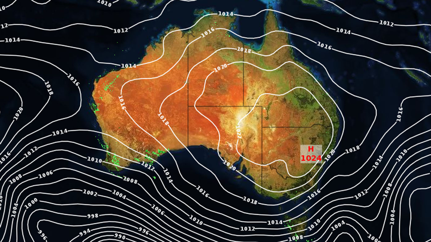 A high-pressure system sits over much of Australia.