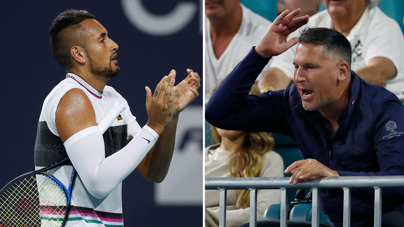 Nick Kyrgios was involved a running battle with a spectator at the Miami Open.